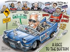 Race To The Bottom – Grrr Graphics Ben Garrison, Clown Show, Swamp Creature, A Moment To Remember, Crooked Hillary, The Departed, Cory Booker, Political Cartoons, Dark Horse