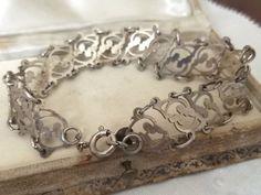 Vintage Sterling Silver Open Work Floral Bracelet by TinkersLaneVintage