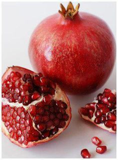 INTERESTING FACTS ABOUT POMEGRANATES :  1. A pomegranate tree can grow up to fifteen feet in height and may live for more than one hundred years.    2. Pomegranates are a rich source of a strong anti-oxidant class known as punicalagins which are thought to be responsible for the major health benefits of the juice.    3. The ancient Romans used pomegranate rinds as a form of leather.
