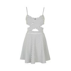 In Love - Black and White Striped Cut Out Skater Dress by Wyldr (212.675 COP) ❤ liked on Polyvore featuring dresses, multi, topshop, black white dress, striped dress, black white stripe dress and black and white dress