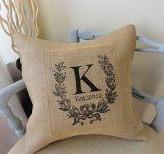 Burlap Monogram Crest with Est Date Pillow Cover by 505Vintage