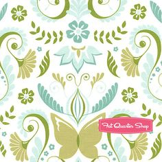 Bella Butterfly Aqua Butterfly Damask Yardage  SKU# PS5433-AQUA-D   Bella Butterfly by Patty Sloniger for Michael Miller Fabrics {several colors}