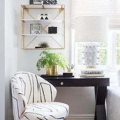 Black X Base Desk with Black and White Chair - Contemporary - Living Room Black And Grey Bedroom, Black And White Living Room, Black And White Chair, Chair And Ottoman, Upholstered Chairs, Green Headboard, White Accent Table, Dining Table Lighting, Desk In Living Room