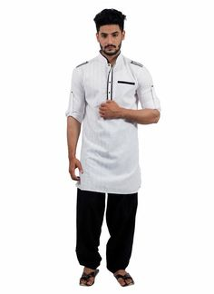 Indian Traditional Bollywood White Kurta Pajama Man's Casual Ethnic Wear #tanishifashion #Solid