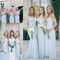 00f46466be0 Cheap beach country Bridesmaid Dresses 2017 Light Sky Blue Chiffon A Line  Ruched Mixed Neckline Beach Wedding Guest Party Gowns Long