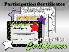 Participation Certificates - Editable (Pre-K, Kindergarten, 1st Grade, 2nd Grade, 3rd Grade, 4th Grade, 5th Grade) Type in your students' names, school, date, etc. and print! These match my two Superstar Classroom Theme Kits (Purple Stars and Multi-colored Stars).  ** Now available in Black and White: Perfect for printing on colored paper! :)