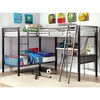 Shop for Furniture of America Hilt Contemporary Black Twin Triple Bunk Bed. Get free delivery On EVERYTHING* Overstock - Your Online Furniture Outlet Store! Get in rewards with Club O! Bunk Bed Sets, Bunk Bed With Desk, Bunk Beds With Storage, Metal Bunk Beds, Bunk Beds With Stairs, Twin Bunk Beds, Kids Bunk Beds, Bed Storage, Loft Beds