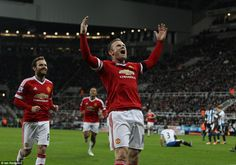 Wayne Rooney celebrates in front of the Manchester United fans after looking like he had sealed three points for the side he captains.