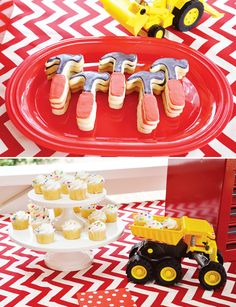 Creative Tool Time Party {4th Birthday} with hammer shaped sugar cookies + cupcakes in dump trucks!
