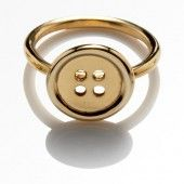 large button gold ring