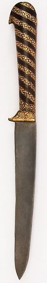 Persian kard knife, 18th to 19th century, steel, gold, L. 13 1/16 in. (33.2 cm); W. 1 3/8 in. (3.5 cm); Wt. 10.2 oz. (289.2 g), Met Museum, Bequest of George C. Stone, 1935.