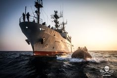 Small boat launched speeds away from the MV Sam Simon Fleet Of Ships, Sea Shepherd, Small Boats, Oceans, Us Travel, Travel Around, Sailing Ships, Korea, Navy