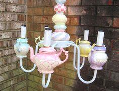 Chandelier Tea Party Teapot Pastel Alice in Wonderland Baby Girl Nursery Light Alice In Wonderland Room, Baby Girl Nursery Themes, Nursery Ideas, Baby Rooms, Nursery Lighting, Little Girl Rooms, Baby Decor, Trendy Baby, Tea Party