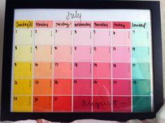 nodig: verfstalen, uitwisbare marker, glasplaatje en maak er een leuke kalender van