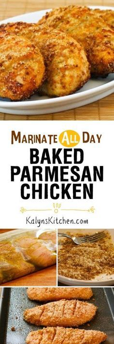 This Marinate-All-Day Baked Parmesan Chicken is easy and delicious for a family-friendly meal. This recipe uses a tiny amount of breadcrumbs combined with Parmesan to coat the chicken, but replace the breadcrumbs with almond meal for a version that's low-carb and gluten-free. [found on www.kalynskitchen.com]:
