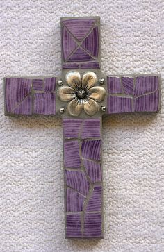 "6 x 9"" cross using broken plate and jewelry - SOLD"