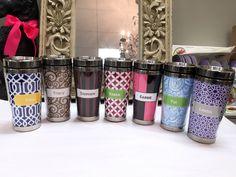 Customized travel mugs by Doodlz Designz.