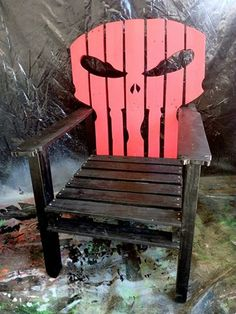 #Art, #HomeDécor, #Outdoor, #PalletChair, #PartyDecor, #RecyclingWoodPallets I made this Pallet Punisher Chair using only pallet wood. This build was completed in about a week. It was a challenge to find the right measures and proportions, so the skull looked right.  I'm very happy with the finished project, though!  A lit