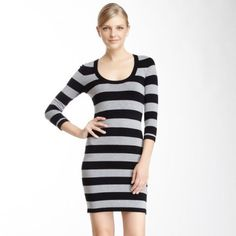 French Connection Black Striped Sweater Dress 10