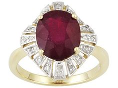 Mahaleo Ruby 5.10ct Oval With Diamond Accent Round 10k Yellow Gold Ring