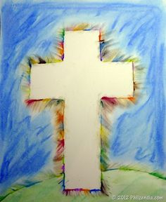 Use a card stock cross and wet chalk or water colors to make this beautiful Easter cross silhouette craft with your kids. Description from easypreschoolcraft.blogspot.com. I searched for this on bing.com/images