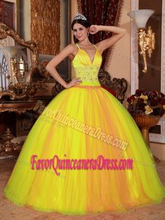 550a6dd102e Sexy Yellow V-neck Floor-length Dress for Quince in Taffeta and Tulle Petite
