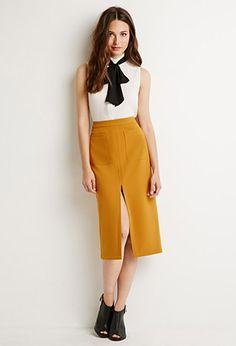 Front Slit Pencil Skirt   Forever 21 - 2000155318