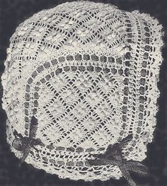 Vintage Antique Crochet PATTERN Baby Cap Hat Bonnet WeldonDiamondBonnet