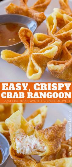 Crab Rangoon are crab and cream cheese wontons with green onions pinched into little purses and deep fried, these are the perfect Chinese restaurant copycat recipe served with sweet and sour sauce or sweet chili sauce. #chinesefood #crab #rangoon #sweetandsour