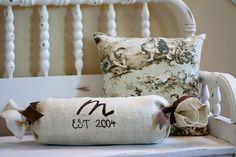 Cute DIY monogrammed/stenciled burlap pillow.