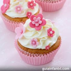 Photo about Cupcakes decorated with pink fondant flowers. Image of frosted, home, cupcakes - 12218880 Cookies Cupcake, Fondant Cupcakes, Fun Cupcakes, Spring Cupcakes, Decorate Cupcakes, Mocha Cupcakes, Easter Cupcakes, Velvet Cupcakes, Christmas Cupcakes