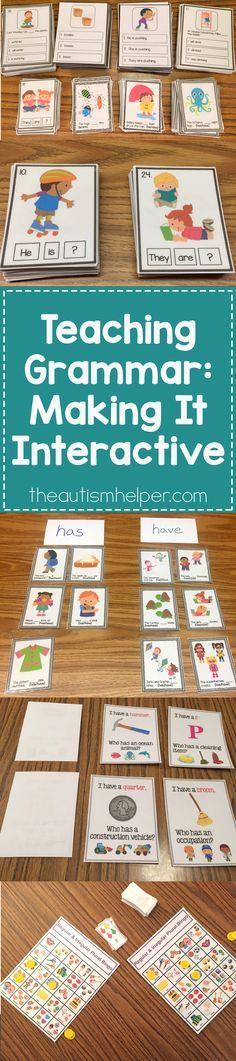 When teaching grammar, make it interactive & include lots of repetition. Sarah's sharing tons of grammar activities & games that give students multiple opportunities to practice grammar rules. Don't miss out on the blog!! From theautismhelper.com #theautismhelper