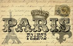 Free Graphic of the Day at The Cottage Market!  Original Paris Postcard!  ENJOY and CREATE! Vintage Labels, Vintage Ephemera, Vintage Postcards, Graphics Vintage, Vintage Crafts, Vintage Signs, Gravure Illustration, Foto Transfer, Images Vintage