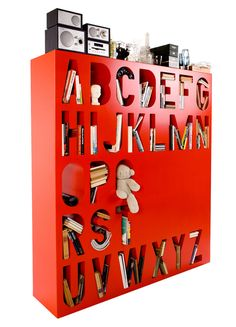 Available in 7 colourways, Kayiwa's stunning Aakkoset alphabet bookshelf also doubles up as a stylish room divider. Made from MDF, the Aakkoset is available to purchase online from the Kayiwa online shop for LOVE! Images © Kayiwa all rights. Home Design, Nachhaltiges Design, Design Ideas, Book Storage, Wall Storage, Storage Spaces, Book Shelves, Kids Storage, Corner Shelves