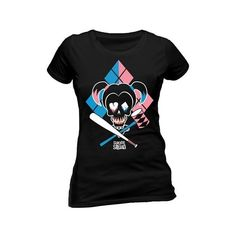Suicide Squad Cartoon Harley Quinn Womens T-Shirt Black ❤ liked on Polyvore featuring tops, t-shirts, comic t shirts, comic book, comic tees, cartoon t shirts and cartoon character t shirts