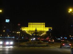 The Unirii boulevard with parliament palace at the far end. Taken in Bucharest, Romania. Taken with a Canon Ixus 100 (PowerShot Beautiful Park, Beautiful Places, Capital Of Romania, Palace Of The Parliament, Canon Ixus, Bucharest, Eastern Europe, Wander, Places Ive Been