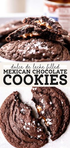 These fudgy Mexican chocolate cookies are STUFFED with rich dulce de leche! They're a delicious spicy chocolate cookie with an extra surprise baked into the center. #dulcedeleche #cookies #chocolatecookies #stuffedcookies #butternutbakery | butternutbakeryblog.com Delicious Cookie Recipes, Fun Baking Recipes, Easy Cookie Recipes, Best Dessert Recipes, Fun Desserts, Mexican Food Recipes, Sweet Recipes, Decadent Chocolate Cake, Soft Chocolate Chip Cookies