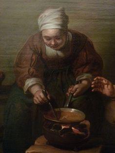 """HERP (van) Willem - Vieux Couple dans un intérieur rustique (Custodia) - Détail 10 - TAGS/ details détail détails detalles """"peintures 17e"""" """"17th-century paintings"""" """"Dutch paintings"""" """"peinture hollandaise"""" """"Dutch painters"""" """"peintres hollandais"""" Paris man men femme woman women cat chat home kitchen cuisine travail labour work cook cooking marmite cauldron pot kettle """"cooking kettle"""" pet pauvres poor poors poorness """"copper pot"""" nobles poverty """"vie domestique"""" """"domestic life"""" mains hand hands Chat Animal, Vieux Couples, Marmite, Vans, Artwork, Painting, Country Interior, Midget Cat, Animaux"""