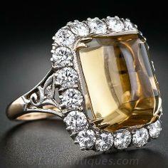 Mid-Century Citrine and Diamond Ring