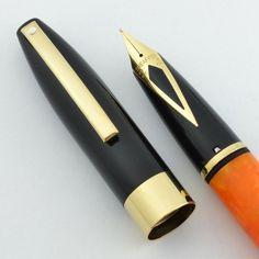 "Ministry of Plenty: #Sheaffer Legacy ""Fantasy"" - Orange Marble Barrel, Black Cap, Medium/Fine 18k Nib  via Peyton Street Pens"