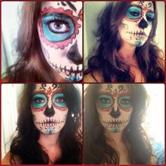 Dia de los Muertos makeup | Smile Genuine #sugarskull #diadelosmuertos #diadelosmuertosmakeup #makeupartist #kyrolan #aquacolor #makeup #halloween #stagemakeup #theatremakeup