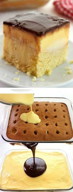 Boston Cream Poke Cake-so super simple and uses a boxed cake mix, pudding, and store bought frosting. Great for potlucks and summer bbq dessert.