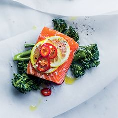 Salmon, Broccolini and Fresh Red Chile Papillotes  | Food & Wine