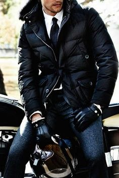 Black Nylon 'Biker' Parka, Black Driving Gloves, and a Black Tie, Men's Fall Winter Fashion.