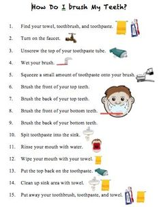 A task analysis about how to brush your teeth. Can be used to teach this skill.. If you like UX, design, or design thinking, check out theuxblog.com