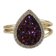 Wine Druzy Teardrop Gold Plated Sterling Silver CZ Ring from The Luxe Store