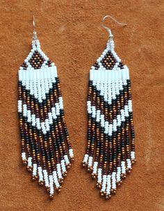 Native beaded earrings hand made by Suzanne Flumerfelt in Yukon, Canada.