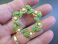 Vintage Wreath Shaped Brooch with Daisy's Faux by CurranStudios