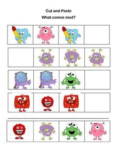 Cut, Paste, Count, Add, and Subtract Printable Worksheets-Monster Theme