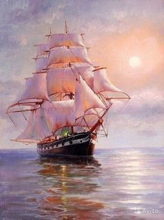 Volkswagen Bus Discover Flower Diamond Painting Diy SailBoat Full drill Cross stitch Home Decoration Old Sailing Ships, Ship Drawing, Diamond Drawing, Ship Paintings, Ship Art, Tall Ships, Oeuvre D'art, Diy Painting, Pictures